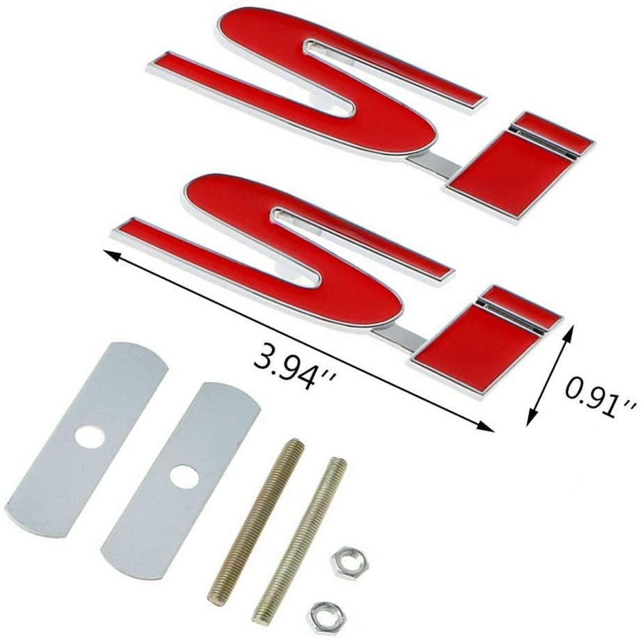 혼다 시빅용 2PCS SI 그릴 레드 + 트렁크 데칼 스티커 자동차 메탈 프론트 그릴 배지 엠블럼