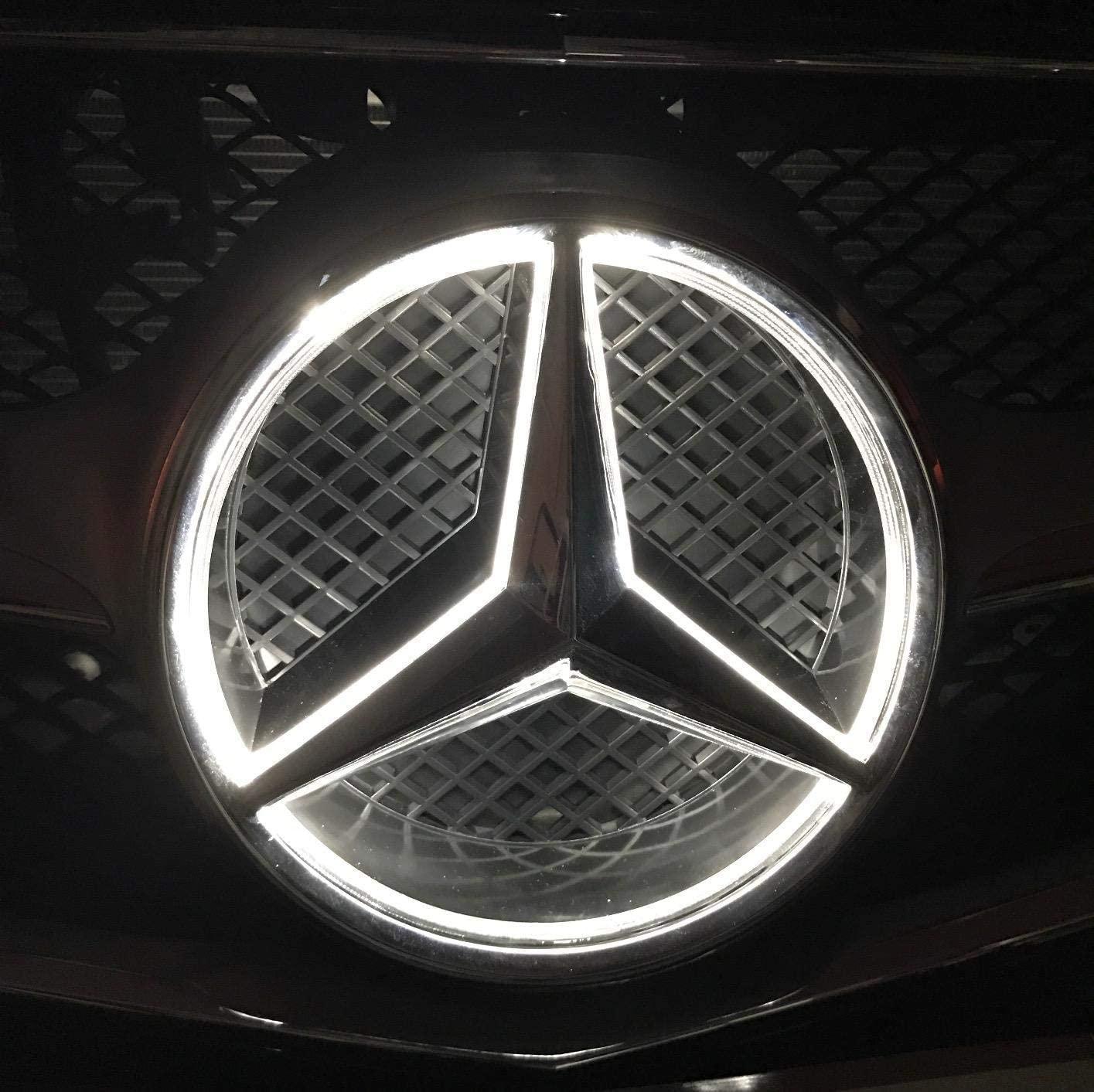 메르세데스 벤츠 2013-2015화이트 LED 엠블럼 자동차 프론트 그릴 배지 메르세데스 벤츠 A B C E R GLK ML GL CLA CLS 클래스드라이브 브라이트 라이트 조명 로고 후드 스타 DRL