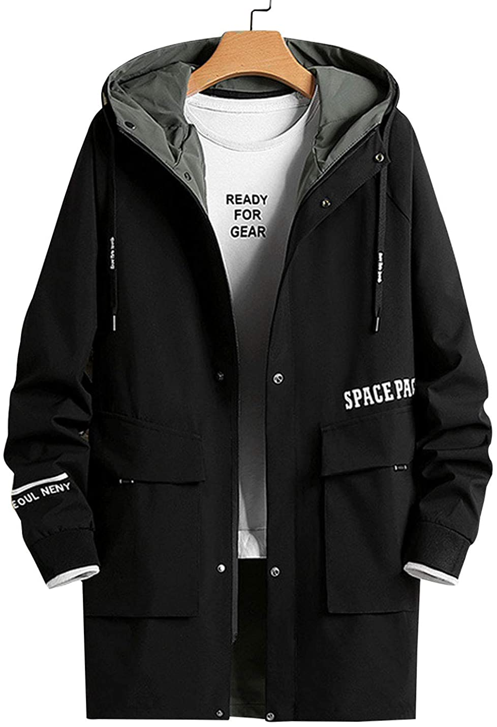 D.B.M MEN`S STAND COLLAR FLAP POCKET LETTER PRINT MID-LENGTH HOODED TRENCH COAT
