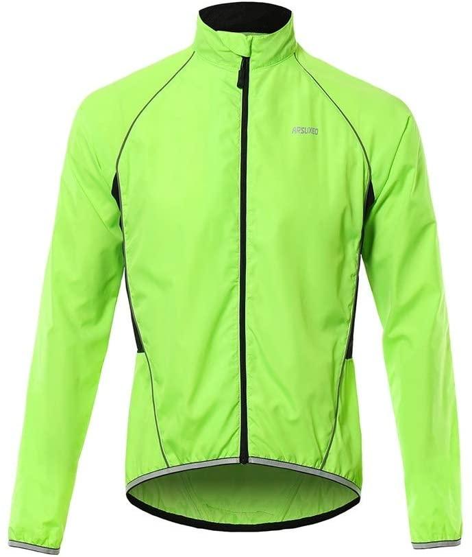 MIOYOOW 사이클링 재킷 반사 스트립 조절 가능한 사이클링 윈드브레이커 방수 레인 코트가 있는 통기성 남성 저지 재킷