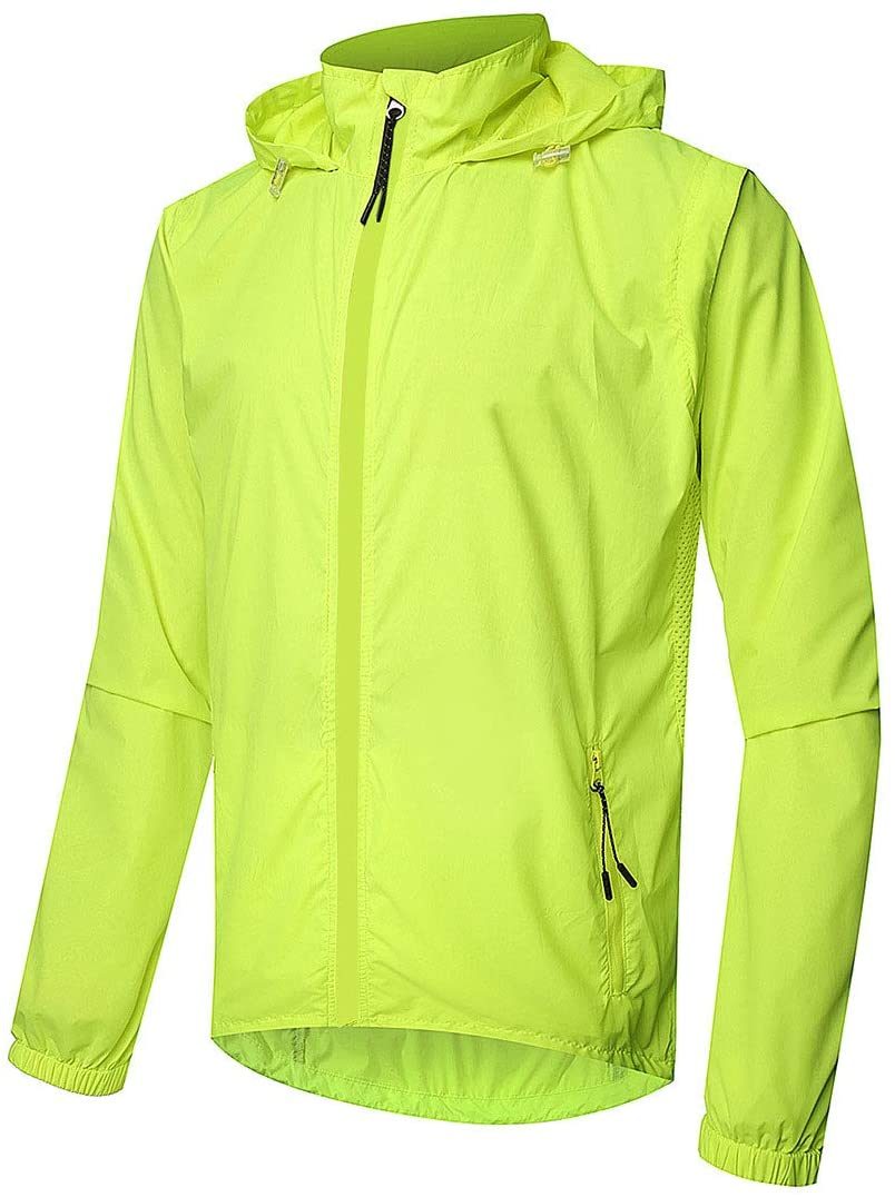 후드와 HUANXIN 남성 방수 사이클링 자전거 재킷 내방 자전거 재킷 야외 방풍 선스크린 통기성 사이클링 재킷 녹색 XXL