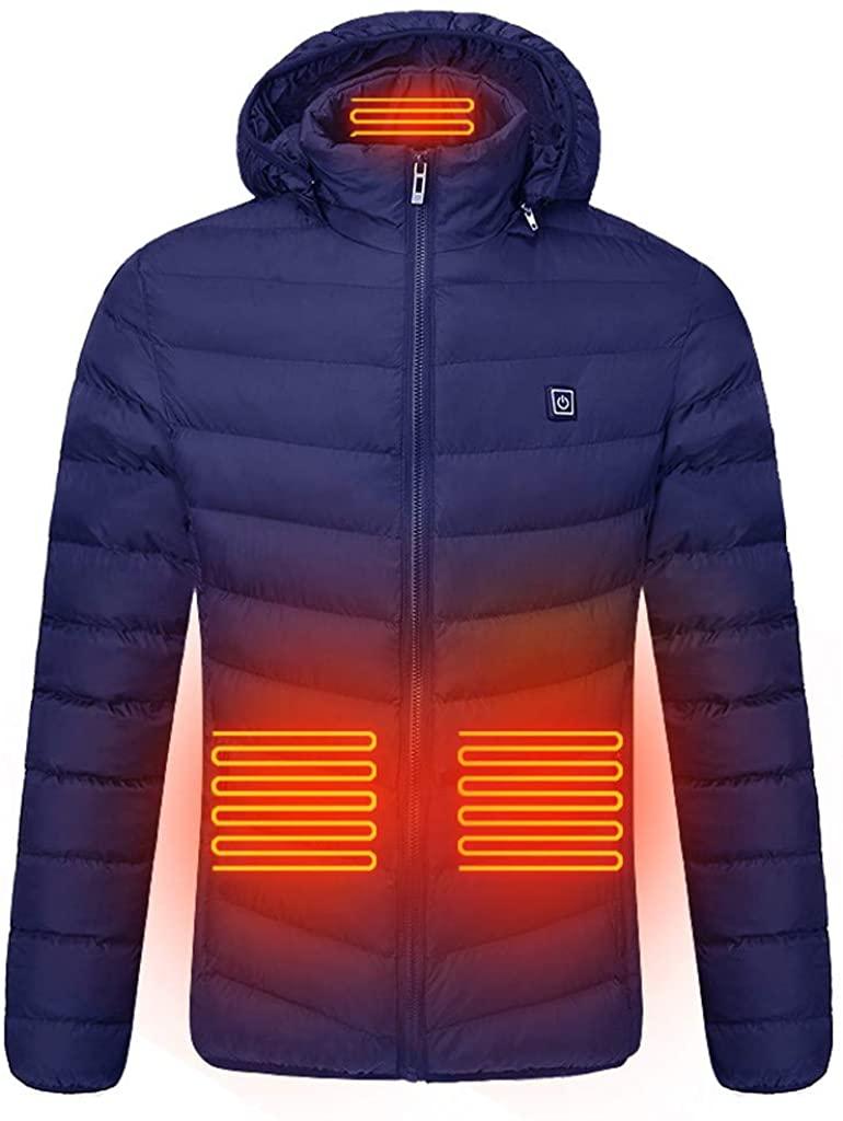 KINGOLDON 남자의 따뜻한 코 튼 옷 스마트 USB 복부 다시 목 4 전기 난방 코트