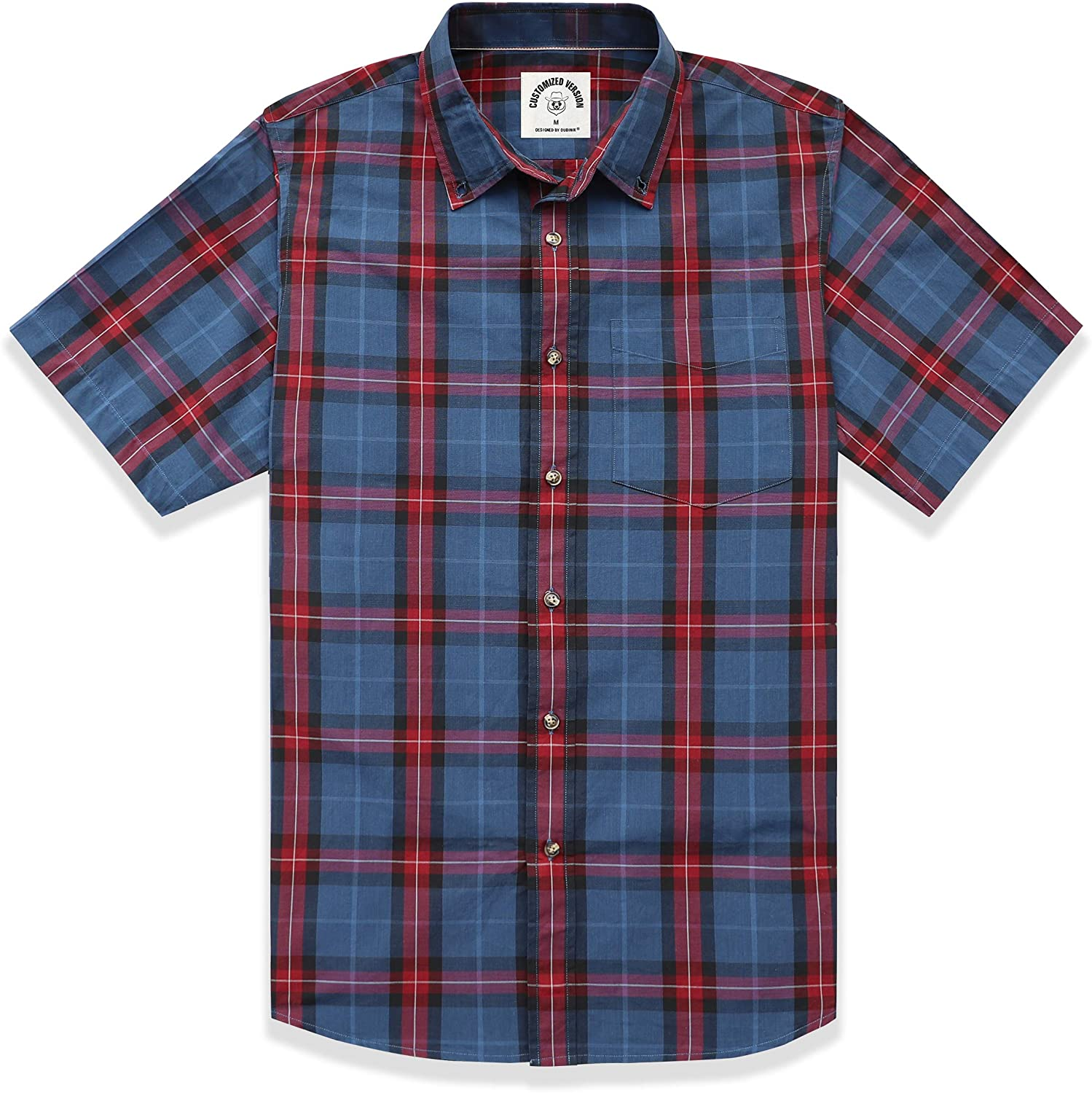 DUBINIK MEN`S PLAID SHORT SLEEVE SHIRTS BUTTON-DOWN CASUAL COTTON SHIRTS REGULAR FIT TWO POCKETS