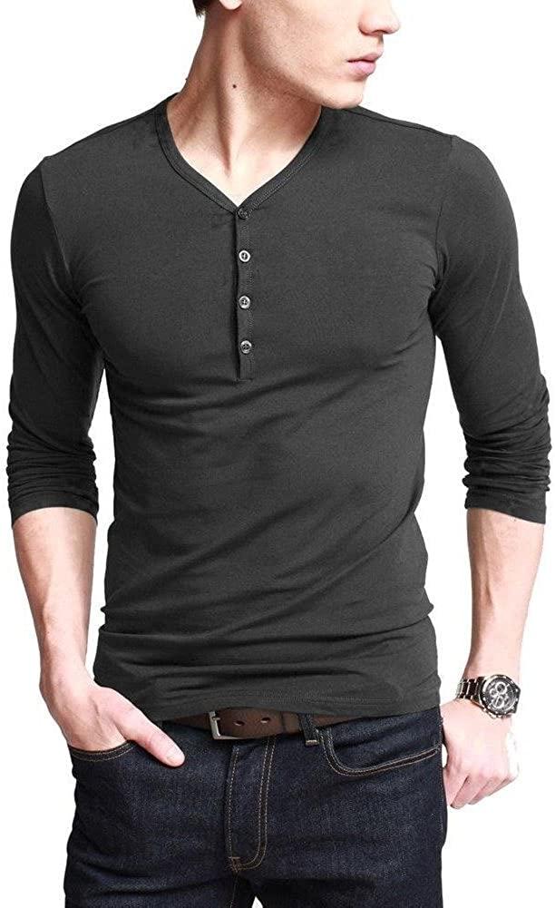 긴 소매 버튼 플래킷 플랫크 멘스 헨리 티셔츠