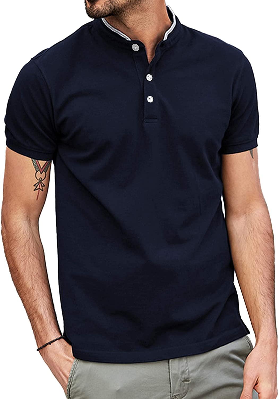 LECGEE 남성 캐주얼 폴로 셔츠 롱 슬리브 슬림 핏 코튼 패션 솔리드 컬러 티셔츠