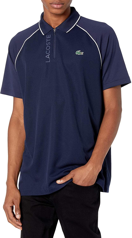 라코스테 남성 스포츠 반소매 그래픽 지퍼 플래켓 폴로 셔츠