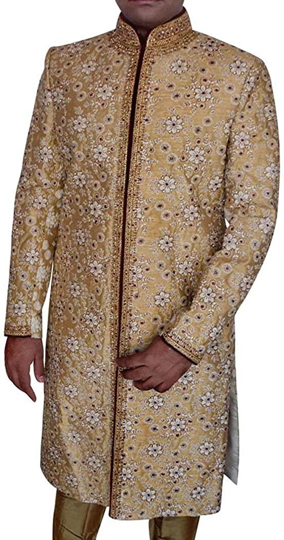 남자 결혼식 황금 전통 결혼식 셔와니 스레드 워크 SH0487에 대한 INMONARCH 신랑 셔와니