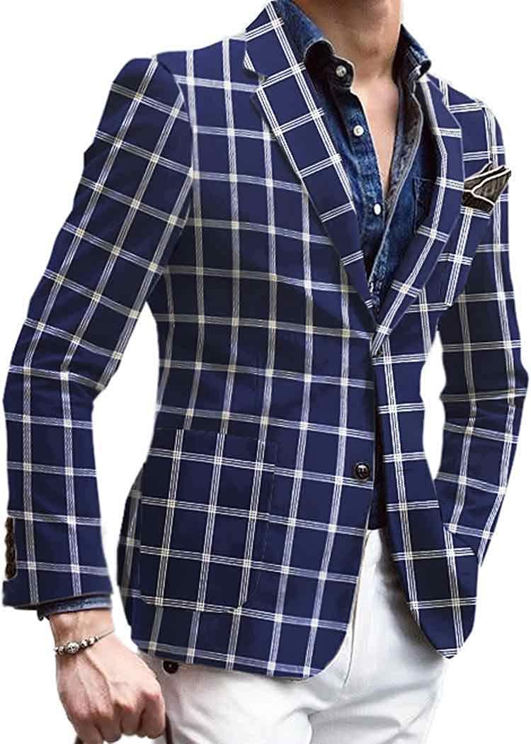 인모나크 멘스 슬림 핏 체크 네이비 블루 스포츠 재킷 코트 VBP31