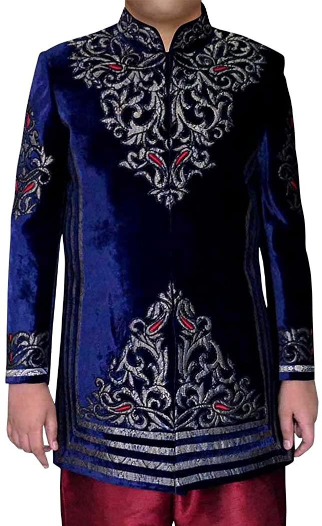 INMONARCH MENS SHERWANI NAVY BLUE VELVET JODHPURI INDO WESTERN INDIAN WEDDING CLOTHES IN0342