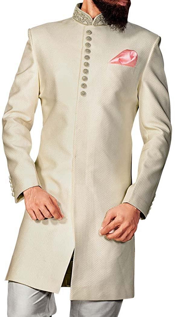 인모나크 셰르와니 포 맨 크림 인도웨스턴 파티 착용 인도 웨딩 의류 IN4306