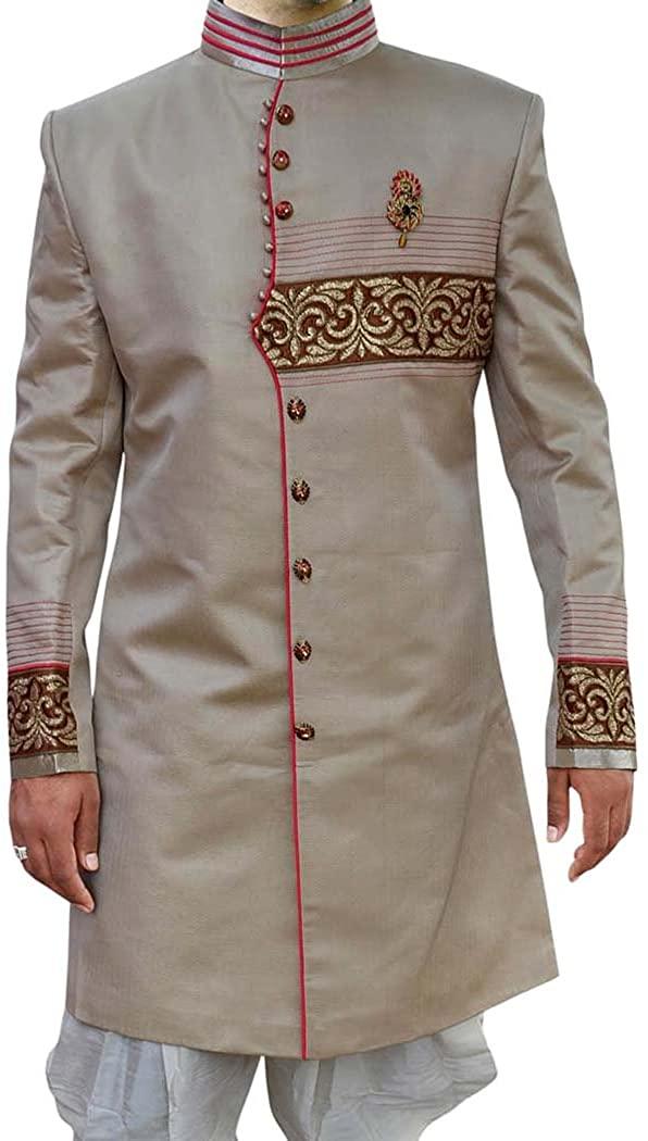 INMONARCH INDIAN SHERWANI FOR MEN IVORY INDO WESTERN ETHNIC DESIGNER SHERWANI IN03651