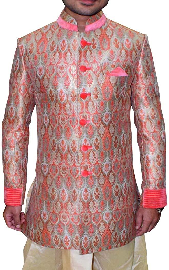 INMONARCH INDIAN SHERWANI FOR MEN PINK INDO WESTERN DESIGNER SHERWANI IN08103