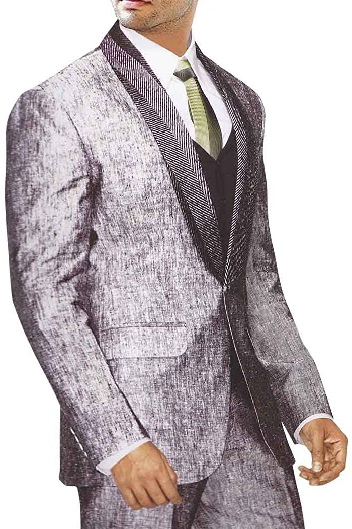 INMONARCH MENS GRAY LINEN 5 PC SUIT BOLLYWOOD TWO BUTTON LS13