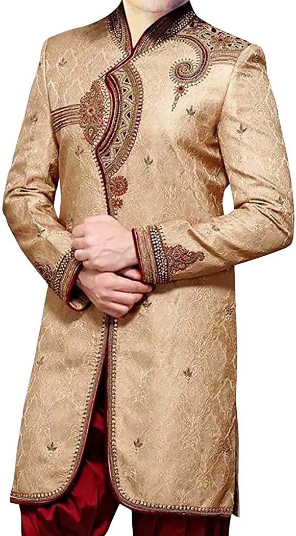 INMONARCH 남자를위한 인도 결혼식 청바지 IN0413 를위한 황금 인도 서쪽 디자이너 일 KURTA