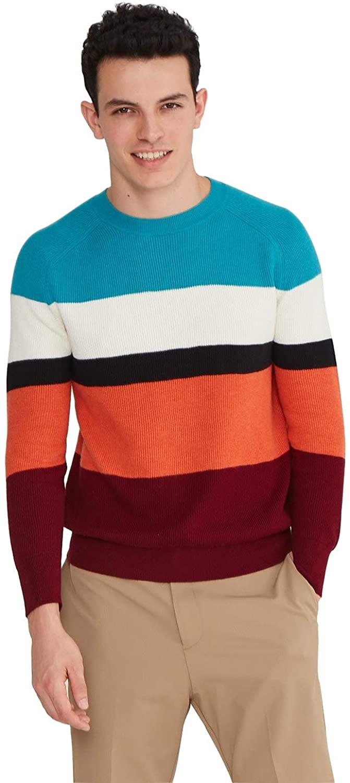 스테이트 캐시미어 남성 코튼 캐시미어 라운드 크루 넥 풀오버 스웨터