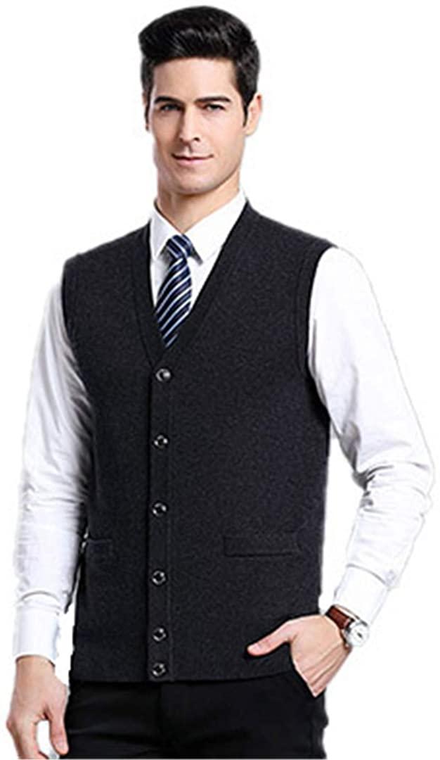 아슬직시 남성 스웨터 패션 슬림 봄과 가을 조끼 솔리드 컬러 캐주얼 블랙 XXXL