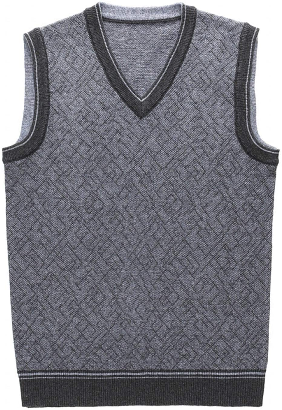 QJBH1 MEN`S SWEATER VEST SLEEVELESS CASUAL KNIT VEST MEN`S V-NECK VEST MEN GENTLY WASH YOUR HANDS TO RELAX AND SMOOTH DO NOT TWIST DO NOT DRY AND BLEACH (COLOR : DARK GRAY SIZE : M)