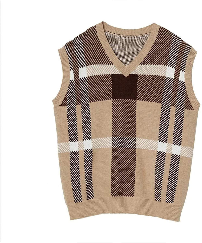 QJBH1 남성 가을 | 겨울 V넥 니트 조끼 격자 무늬 조끼 풀오버 스웨터 모든 매칭 캐주얼 루즈 남성 스웨터 조끼 (색상 : 브라운 크기 : L)