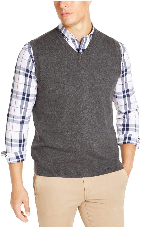 클럽 룸 남성 스웨터 숯 작은 V 넥 리브 트림 베스트 그레이 S