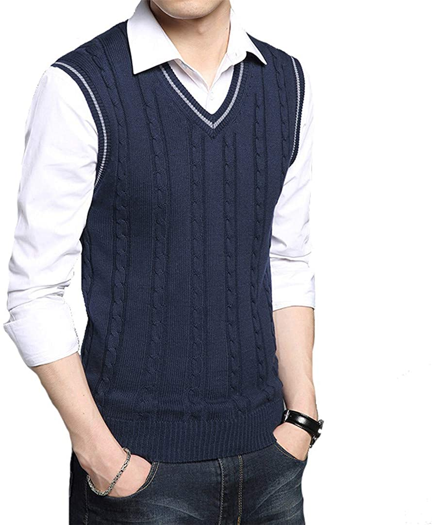 ASLJIKSY WINTER MENS VESTS SLEEVELESS KNITTED WARM WAISTCOATS CASUAL MEN SLIM V-NECK PULLOVERS SWEATER VESTS NAVY BLUE S