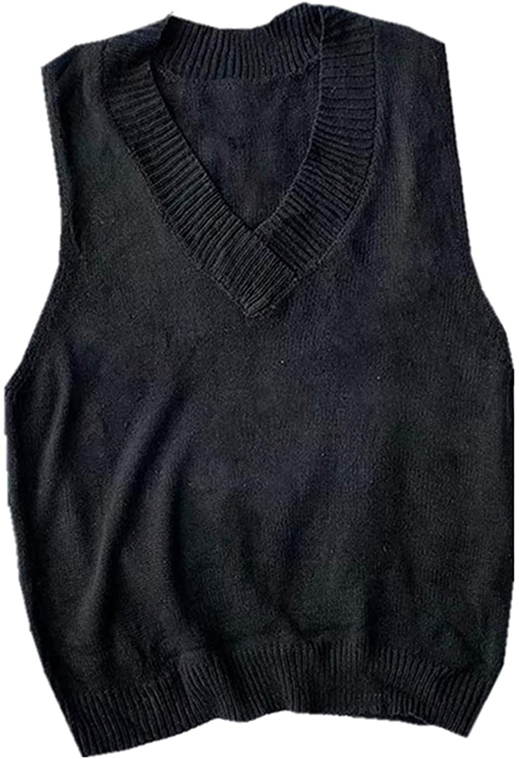 SWEATER VEST MEN LOOSE SLEEVELESS KNITTED MALE VESTS STREETWEAR KOREAN TRENDY LEISURE V-NECK SOLID STYLISH CHIC