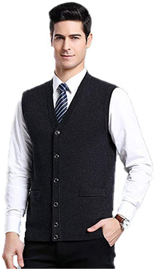 ASLJIKSY MEN`S SWEATER FASHION SLIM SPRING AND AUTUMN VEST SOLID COLOR CASUAL BLACK L