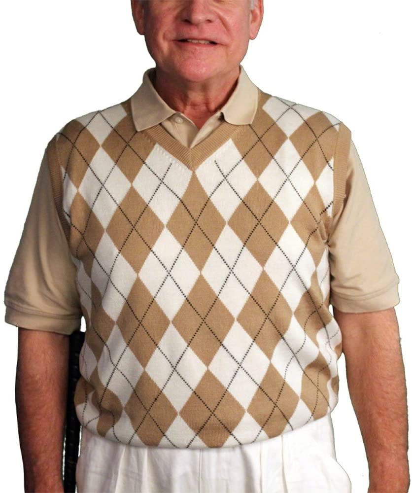 V-넥 아가일 골프 스웨터 조끼 - 골프니커스: 맨즈 - 풀오버 골프 조끼