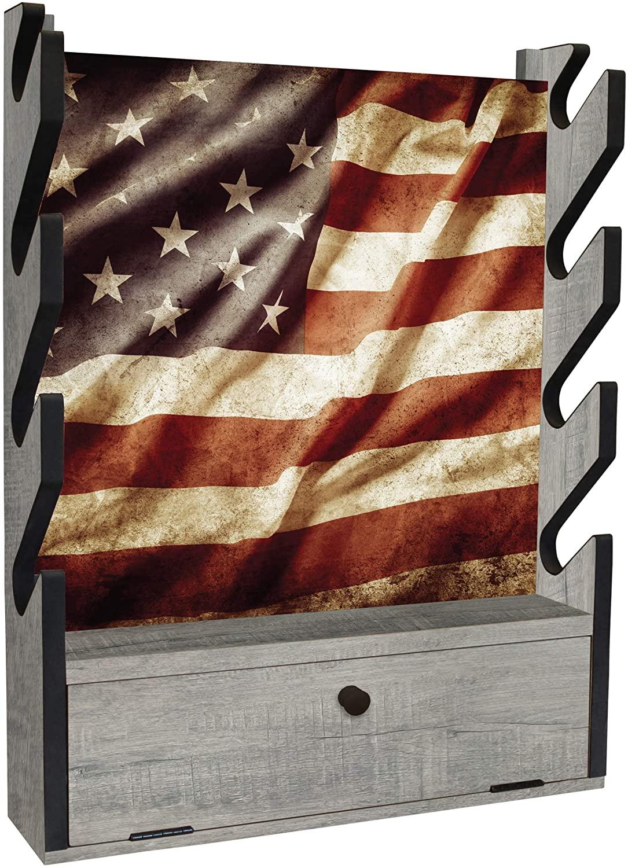 RUSH CREEK CREATIONS 실내 4 소총   샷건 벽 스토리지 AMERICANA 디스플레이 랙-액세서리 용 스토리지 컴 파트먼트-SPORTSMAN`S PACKAGE