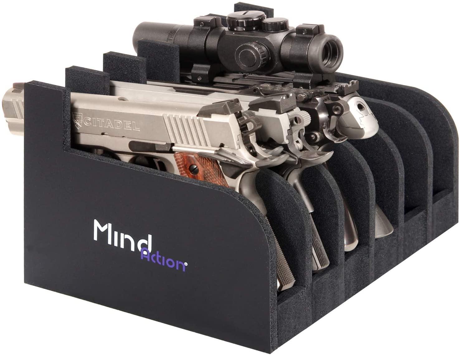 마음과 액션 폼 권총 랙 권총 홀더 총 안전 총 캐비닛 액세서리 1 최대 6 총기(검정)에서 사용자 정의 총 저장)