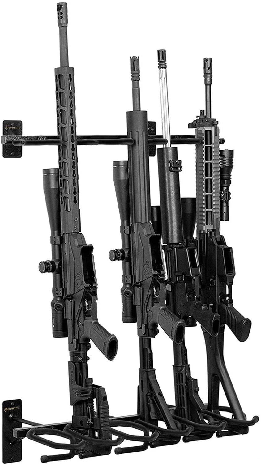 GOHIKING 큰 총 랙 벽 산 산탄총 후크를 개최 6 개 및 활 산 옷걸이프 패딩 벽 총 랙 디스플레이 스탠드(블랙)