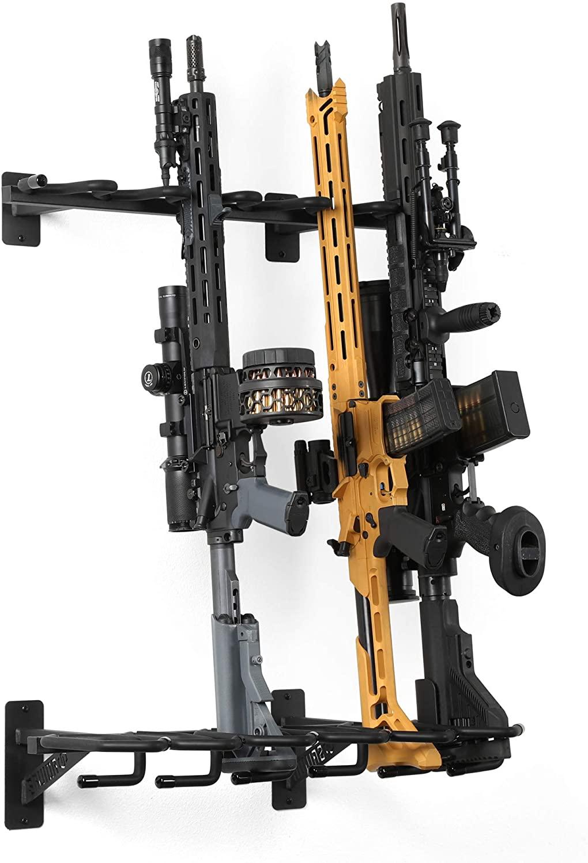 구세주는 장비 벽 산 소총 선반 전술총 카빈 무기한 무료 서 있는 총 디스플레이 실내 저장 선반에 의하여 무거운 강철 6-슬롯 최대 150LBS