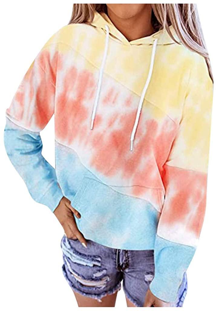 LATINDAY 여성 넥타이 염료 인쇄 후드 티셔츠 긴 소매 캐주얼 풀오버 느슨한 따뜻한 DRAWSTRING 후드 포켓 옐로우