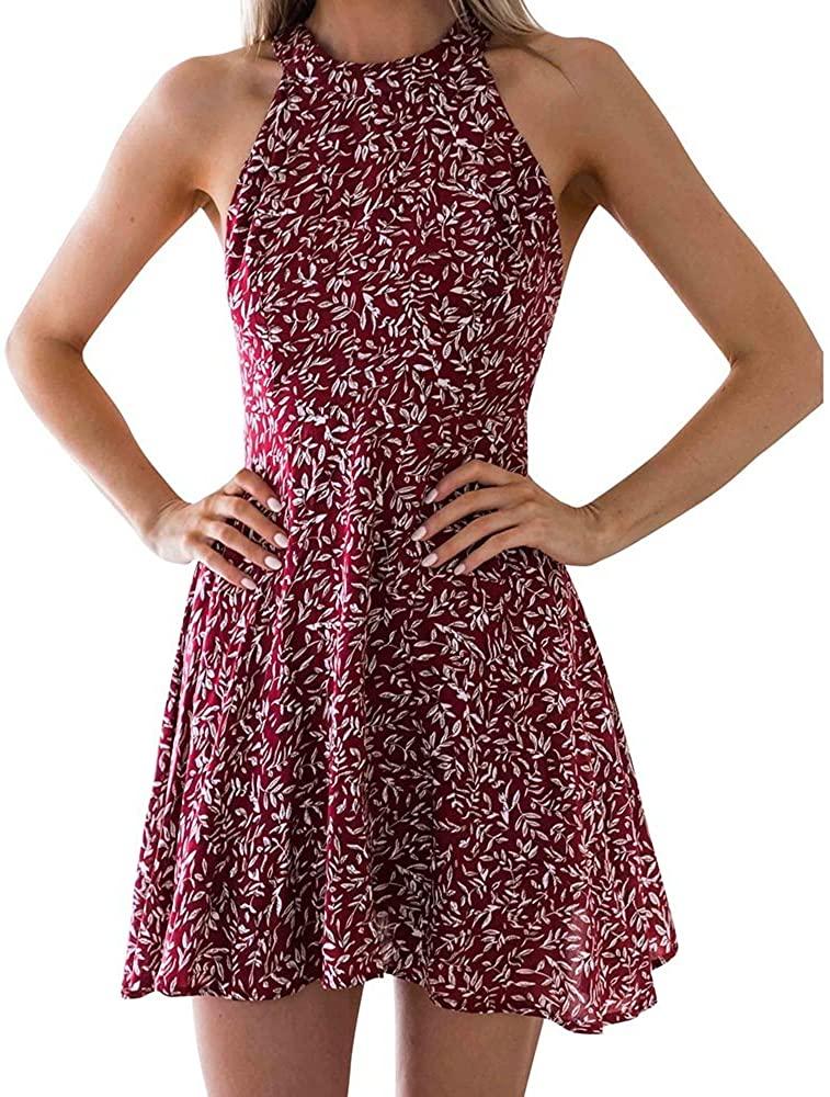 여자의 쉬폰 꽃 인쇄 드레스 FLOWY 홀터넥 민소매 콜드 숄더 여름 해변 SUNDRESS