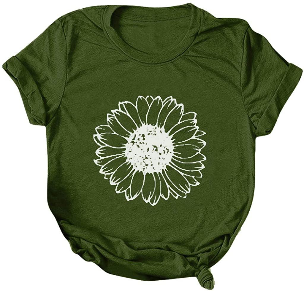 HAMLEO WOMENS 캐주얼 티셔츠 패션 해바라기 프린트 티 블라우스 반소매 튜닉 탑스 크루넥 셔츠