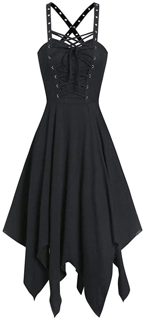 포르타자이 여성 패션 드레스 민소매 고딕 펑크 붕대 불규칙한 헴 미니 드레스 캐주얼 비치 파티 탱크 드레스