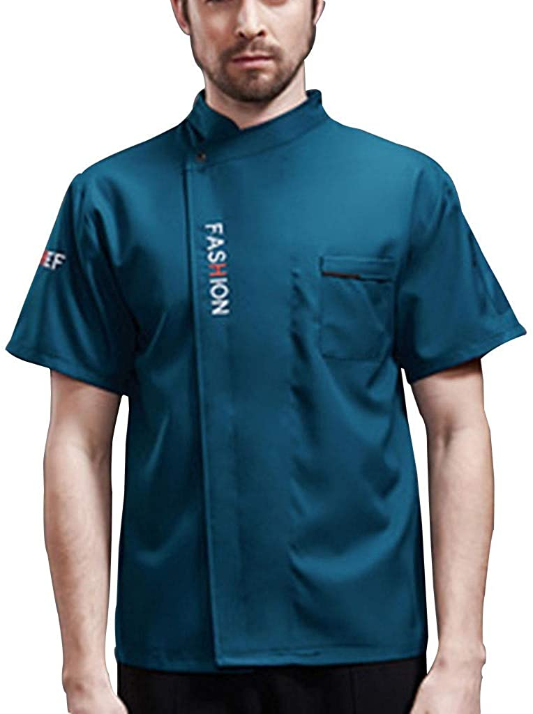 UNI CHEF COAT KITCHEN CLASSIC SHORT SHEEVE CHEF JACKET CHEF WORKS TOP LIGHTWEIGHT PERSONALIZED CUSTOMIZED