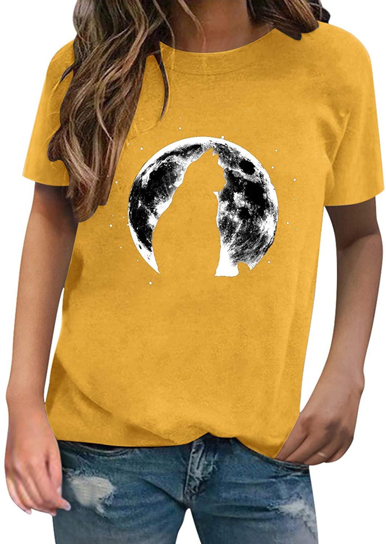 십대 소녀를위한 그래픽 티 여성의 O-넥 반소매 고양이 행성 그래픽 캐주얼 탑스 셔츠 튜닉 루즈 핏