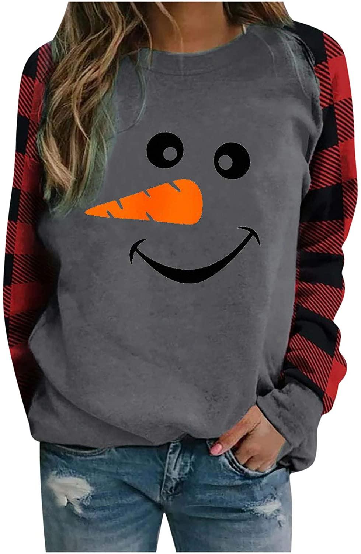 여성을위한 포츠 스웨트 셔츠 크리스마스 참신 패턴 인쇄 팔걸이 패치 워크 긴 소매 BLOUSES 풀오버 튜닉 탑