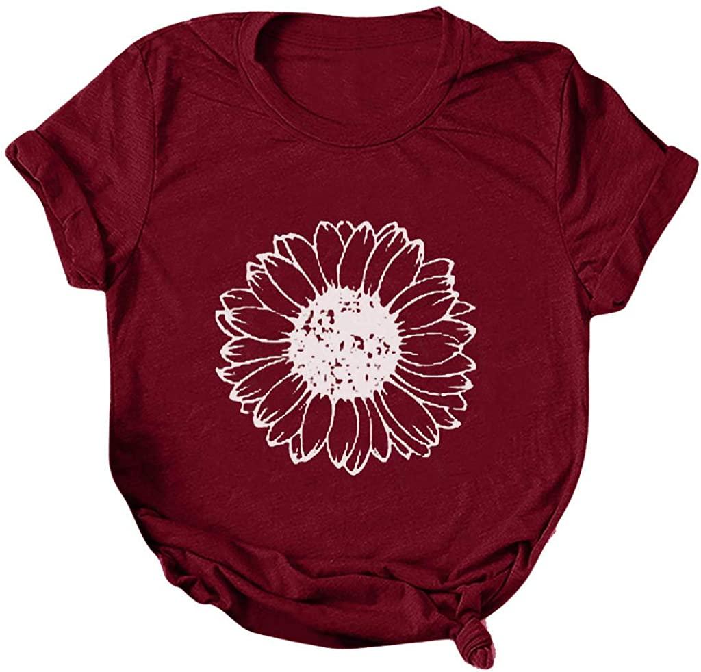 HAMLEO WOMENS 패션 티셔츠 해바라기 프린트 티 블라우스 반소매 튜닉 탑스 재미있는 셔츠 여름