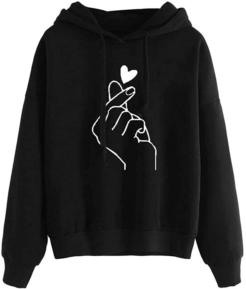 FUDULE 여성 긴 소매 후드 십대 소녀 스웨터 심장 인쇄 후드 풀오버 탑스 블라우스 점퍼 스웨터