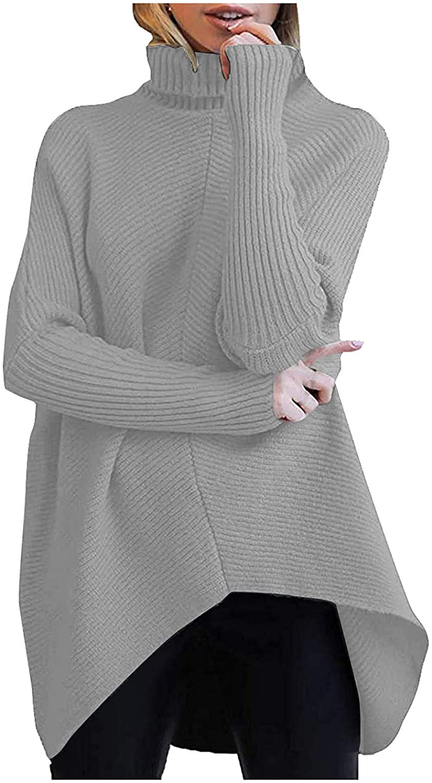 FABIURT 스웨터 여성을위한 여자의 터틀넥 니트는 긴 소매 스웨터 대형 편안한 느슨한 점퍼 블라우스를 정상