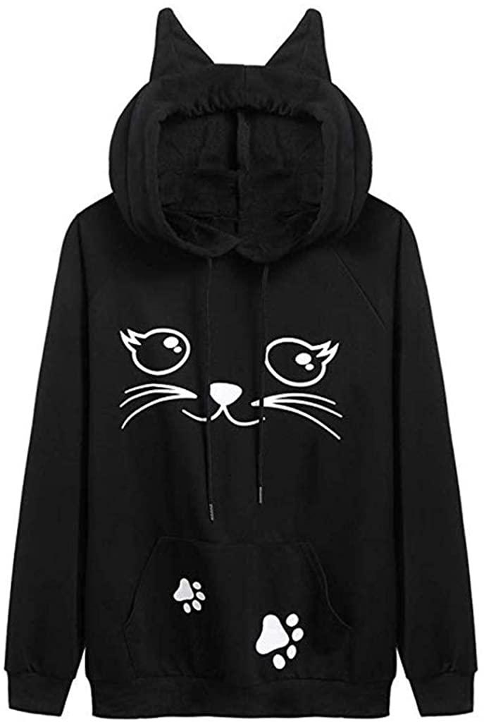 여자의 고양이 인쇄 스웨터 긴 소매 느슨한 캐주얼 후드 풀 오버 셔츠 탑 블라우스