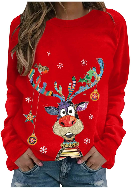COOKI WOMENS 풀오버 스웨터 여성 캐주얼 크리스마스 재미 있은 귀여운 그래픽 풀오버 탑스 긴 소매 셔츠 스웨터