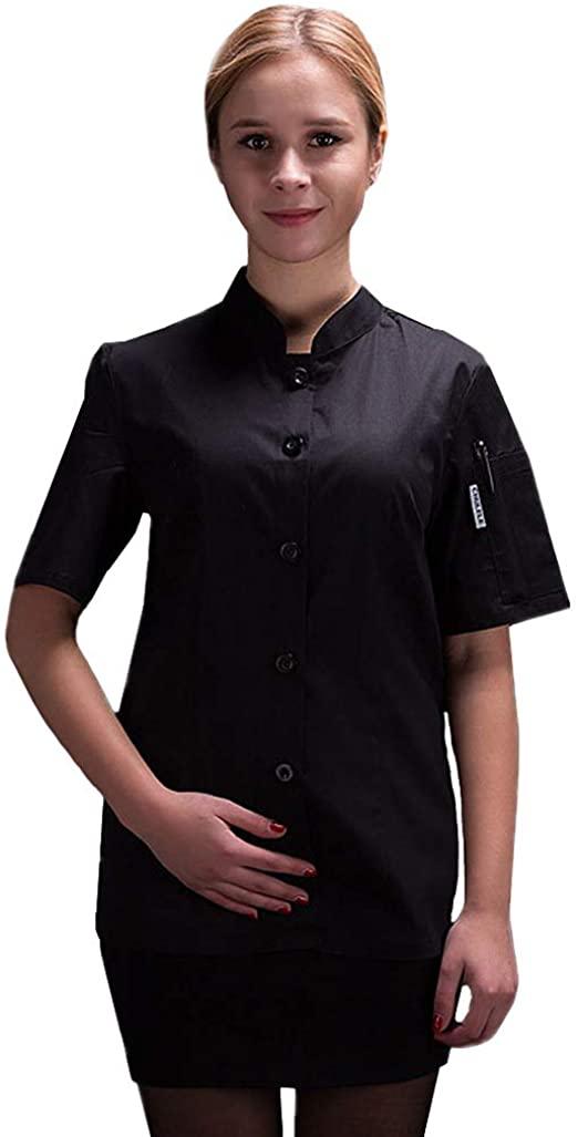 여성 요리사 코트 여름 싱글 브레스트 반팔 요리사 자켓