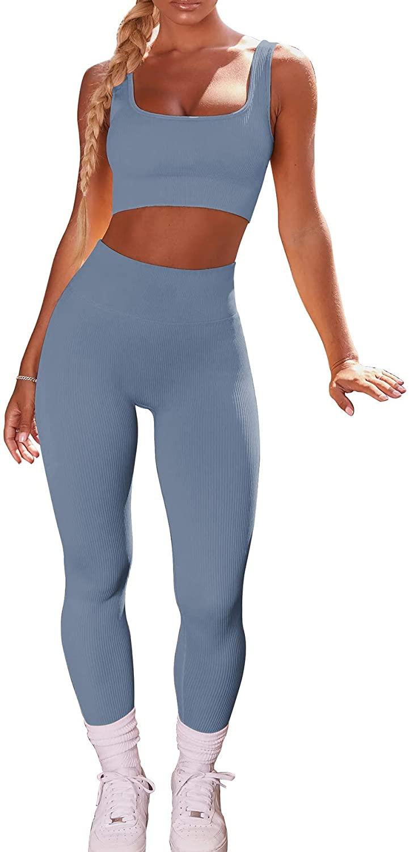 DINGANG 여자 운동 세트 2 조각 스포츠 브래지어 높은 허리 레깅스 요가 복장 체육관 옷
