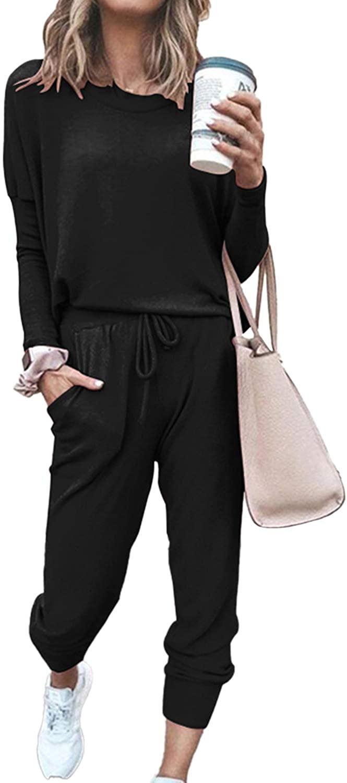 MEENEW 여성의 2 조각 스포츠 의상 긴 소매 탑스와 바지 세트 SWEATSUITS