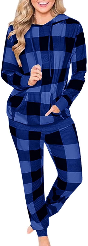 여자 2 조각 LOUNGEWEAR 잠옷 세트 격자 무늬 까마귀와 조깅 크리스마스 휴일 잠옷 복장 포켓