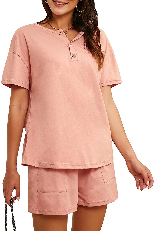 일치하는 라운지 착용 세트 여성 캐주얼 버튼 짧은 소매 귀여운 편안한 여름 2 조각 의상 잠옷 포켓