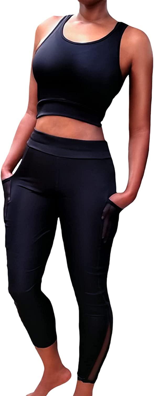 ZSOO 여성 섹시한 두 조각 복장 세트 높은 허리 레깅스 자르기 탑 요가 체육관 스포츠 활성 착용