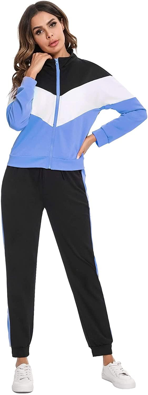 IREVIAL 여성용 긴 소매 스웨트 슈트 2 피스 지퍼 탑스와 드로우 스트링 스웨트 팬츠 TRACKSUITS POCKET